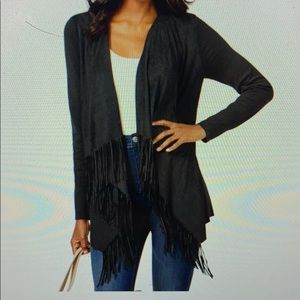 INC Sueded Fringe Sweater